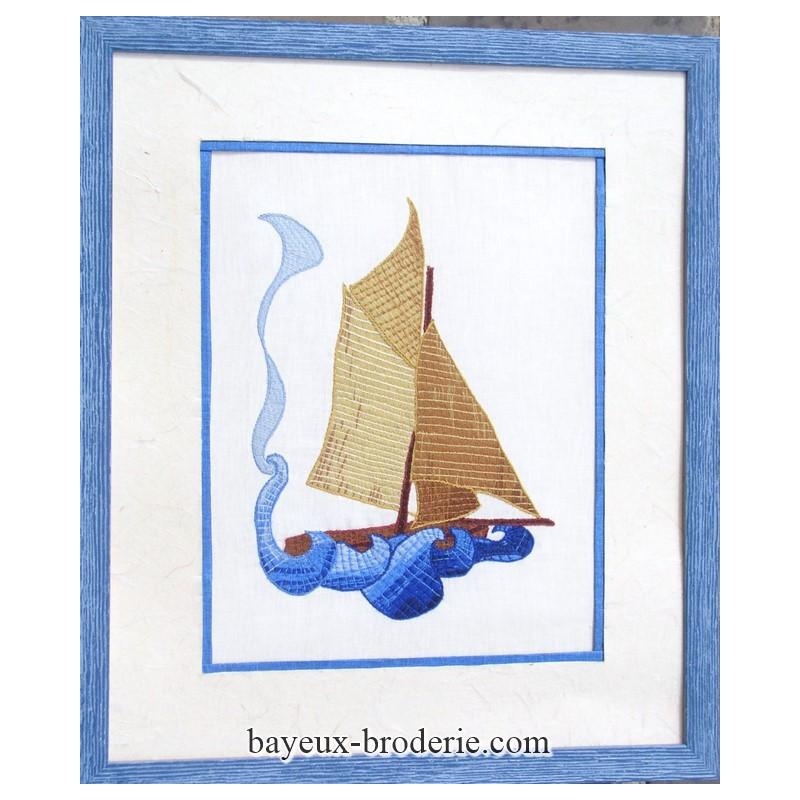 Kit à broder au point de bayeux le voilier