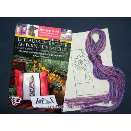 Discover Bayeux stitch guidebook +embroidery kit - OFFRE livre fleur étè